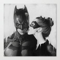 BAT AND CAT b&w Canvas Print