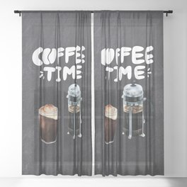 Coffee blackboard lettering — Coffee time Sheer Curtain