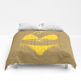 Yellow Polka Dot Bikini on Kraft Comforters