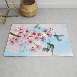 Cherry Blossom and Hummingbirds Rug