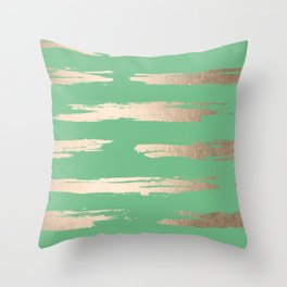 Abstract Paint Stripes Gold Tropical Green Throw Pillow