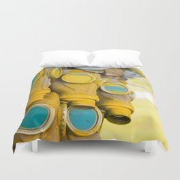 Yellow gas mask Duvet Cover