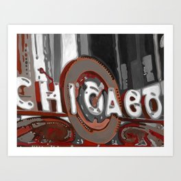 Red and White Chicago Theater Art Print