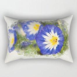 Watercolor Morning Glories Rectangular Pillow