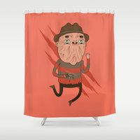 freddy krueger Shower Curtains featuring Freddy by Daniel Mackey
