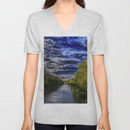 Branch River at Forestdale, Rhode Island Landscape Painting by Jeanpaul Ferro Unisex V-Neck