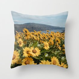 Oregon Summer Wildflower Hillside Meadow Throw Pillow