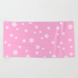Snowing - pink - more colors Beach Towel
