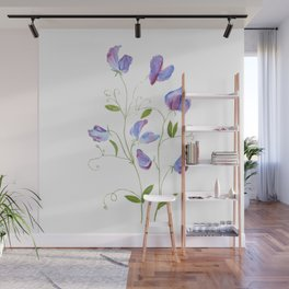 purple sweat peas watercolor 2021  Wall Mural