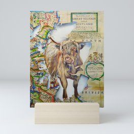 Highland cow, Spirit of Scotland painting Mini Art Print
