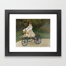 Jean Monet on his Hobby Horse 1872 by Claude Monet Framed Art Print