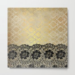 Black floral luxury lace on gold damask pattern Metal Print