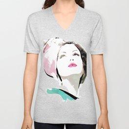 Woman with Hat Portrait, Fashion Painting, Fashion IIlustration, Vogue Portrait, Fashion Beauty, #11 Unisex V-Neck