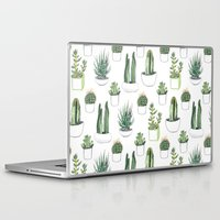 succulents Laptop & iPad Skins featuring watercolour cacti and succulent by Vicky Webb