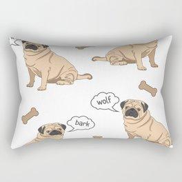 Tiled Barking Pug with Bones Rectangular Pillow