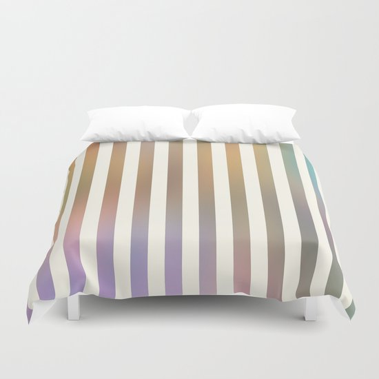 Striped Pattern in Pastel Colors Duvet Cover