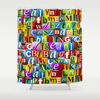 letters Shower Curtains featuring Letters by Ronda Bröc