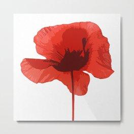 One Red Poppy White Background #decor #society6 #buyart Metal Print