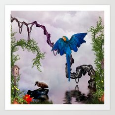 Wonderful blue parrot Art Print