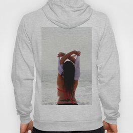 Girl at the beach getting ready for a bath Hoody