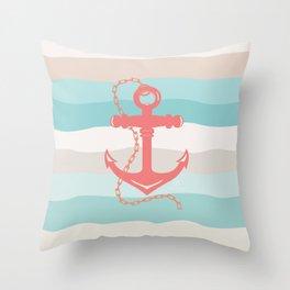 AFE Coral Anchor Nautical Art Throw Pillow