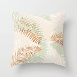 My blush and copper abstract Aloha Tropical Jungle Palm Garden Throw Pillow