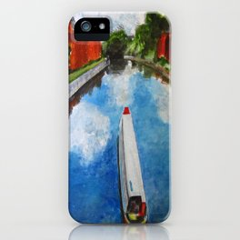 Longboat canal boat on river iPhone Case