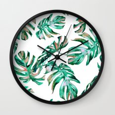 Green Coral Palm Leaves Wall Clock