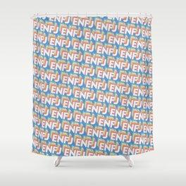 ENFJ Trendy Rainbow Text Pattern (Blue) Shower Curtain