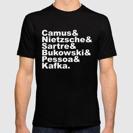 Camus& Nietzsche& Sartre& Bukowski& Pessoa& Kafka. White on Black T-shirt