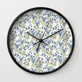 'Wild Blueberry' - Botanical Pattern Wall Clock