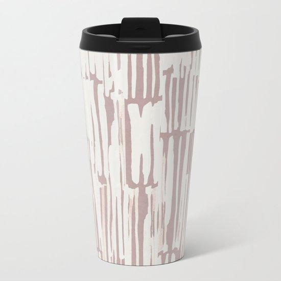 Simply Bamboo Brushstroke Lunar Gray on Clay Pink Metal Travel Mug