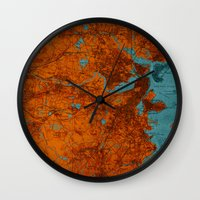 vintage map Wall Clocks featuring Vintage map by Larsson Stevensem