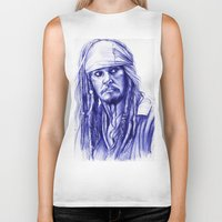 jack sparrow Biker Tanks featuring Jack Sparrow by Luna Perri