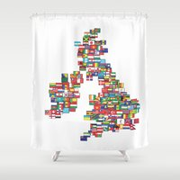 uk Shower Curtains featuring UK by John Choi King