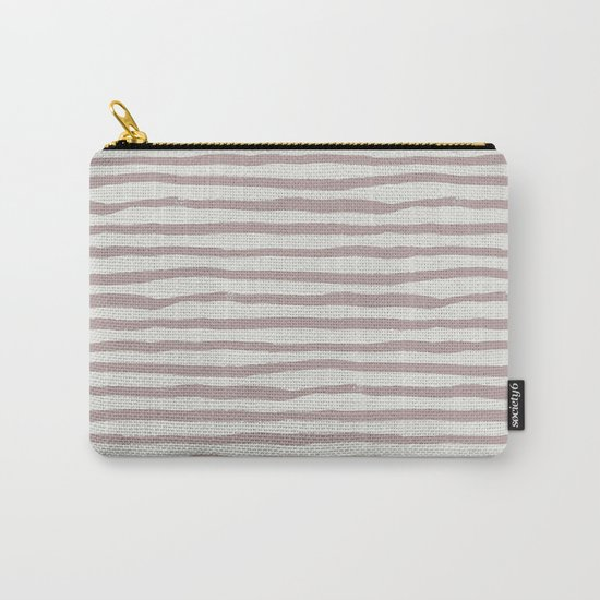 Simply Shibori Stripes Clay Pink on Lunar Gray Carry-All Pouch