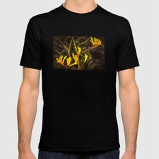 Yellow Kangaroo Paw flower against a blurred background MEDIUM Black Mens Fitted Tee