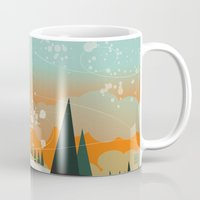 snowboard Mugs featuring Snowboard Jump by Park City Posters
