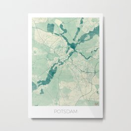 Potsdam Map Blue Vintage Metal Print