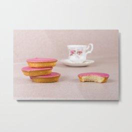 coffee and pink cake Metal Print