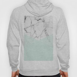 Real White Marble Half Mint Green Shapes Hoody