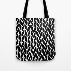 Hand Knitted Black on White Tote Bag