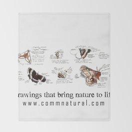 Lepidoptera inspiration: a watercolor collection of Saskatchewan moths & butterflies Throw Blanket