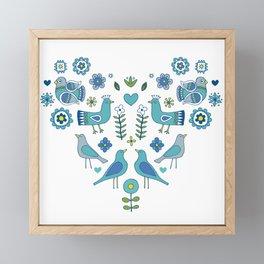Scandi Folk Birds - blue & white Framed Mini Art Print
