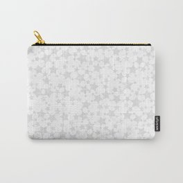 Block Print Silver-Gray and White Star Pattern Carry-All Pouch