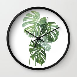 Monstera Leaves 3 Wall Clock