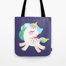 Cute unicorn with colorful mane and tail Tote Bag