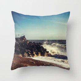 Battered Rocks Throw Pillow