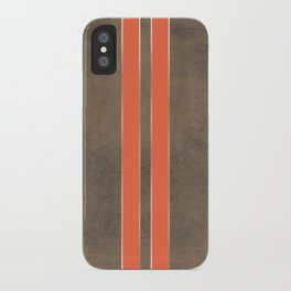 Vintage Hipster Retro Design - Brown Leather with Gold and Orange Stripes iPhone Case