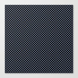 Black and Country Blue Polka Dots Canvas Print